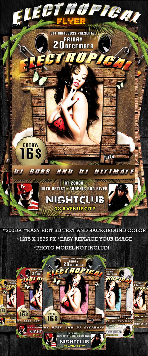 Tropical Party - Flyer PSD Template