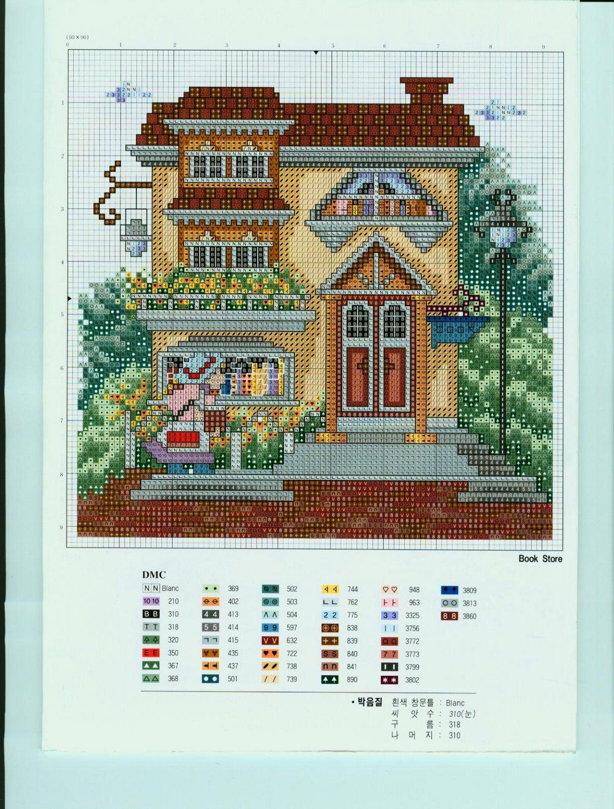 Вышивка крестом домики схемы разнообразных построек 61