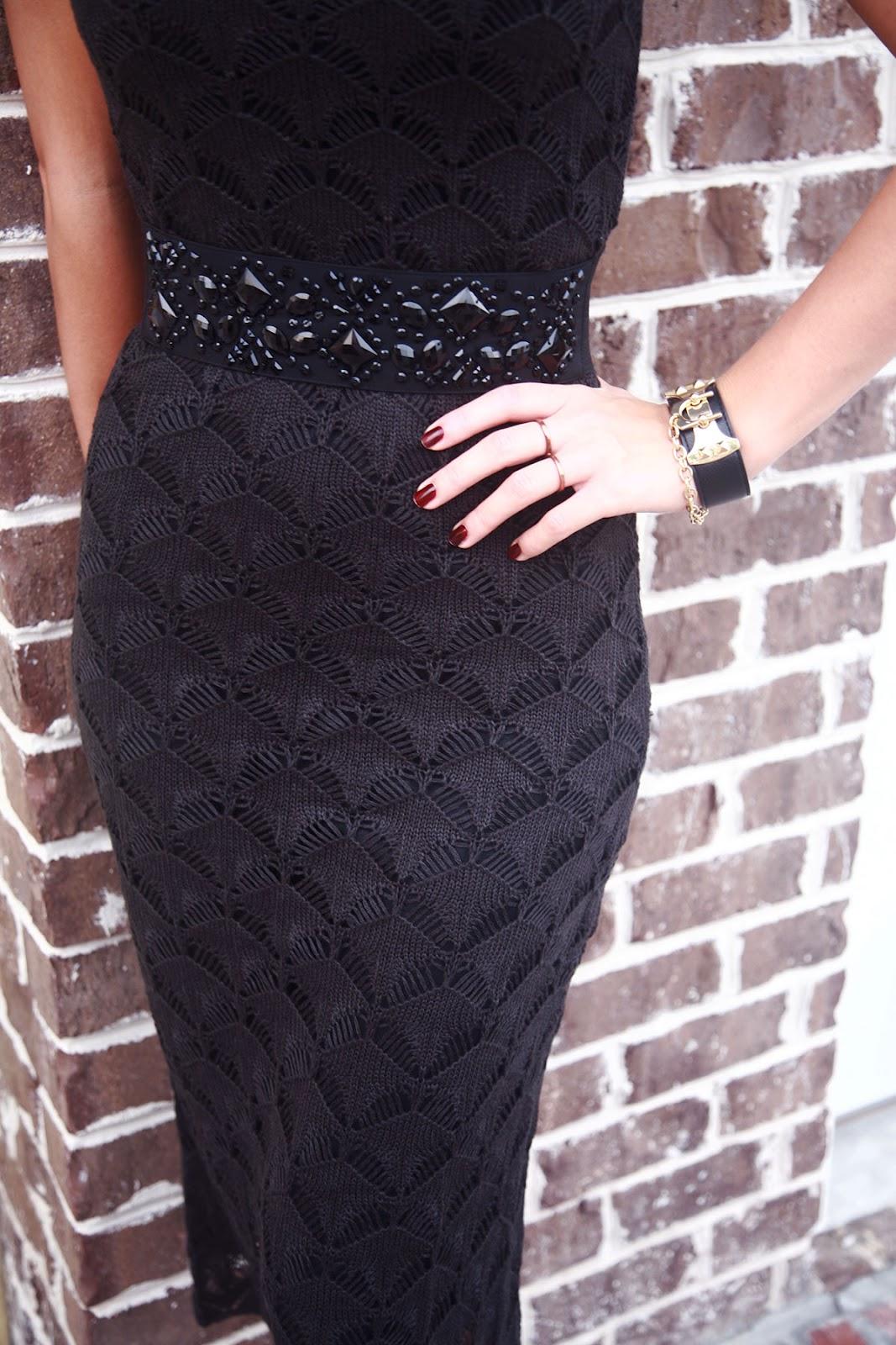 Черная платья вязано спицами