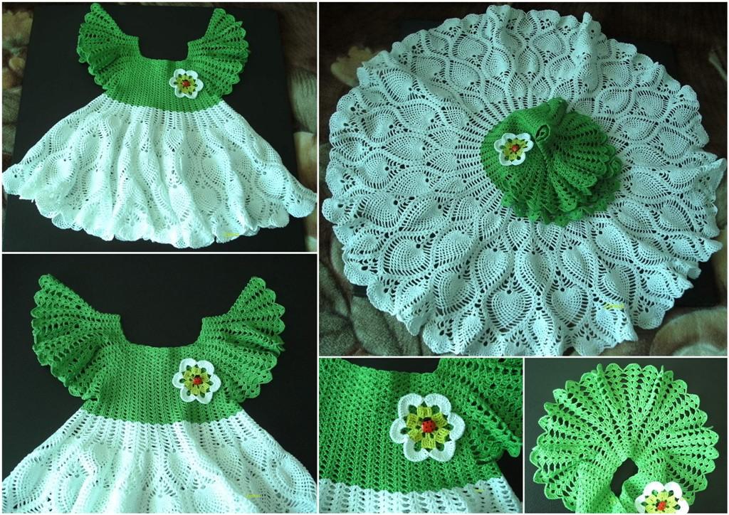 Платье ромашки для девочки крючком схема