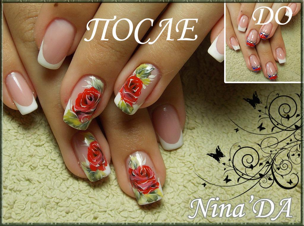 Китайская роза роспись на ногтях