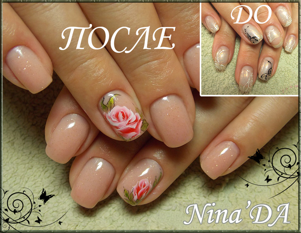 Роспись розами на ногтях