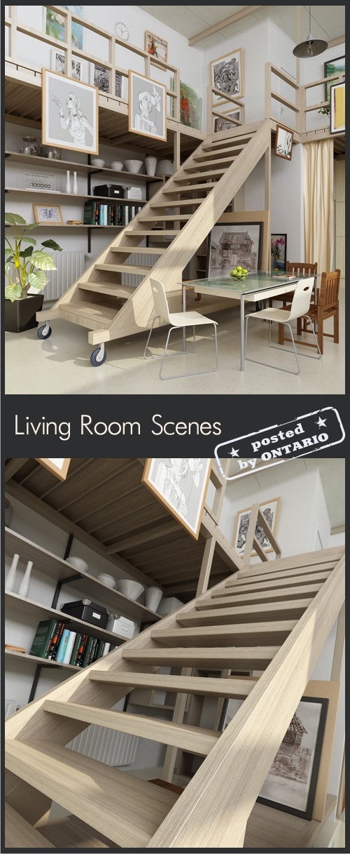 [3dMax] Living room Interior Scene for 3ds Max part 11