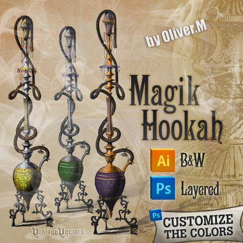 Detailed Vintage Hookah - PSD source