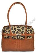 Модная сумка Giglio Fiorentino 0109-19 из кожи с мехом пони рыжего цвета.  Дизайнерские.