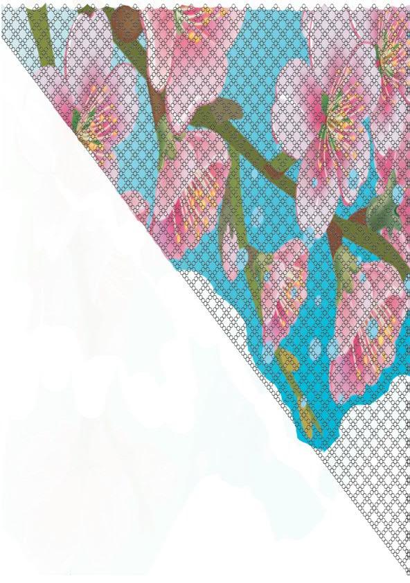 """Автор схемы Leonidovna V. Схема косынки  """"Сакура """": печатаем, склеиваем, плетем.  Будут вопросы - пишите."""
