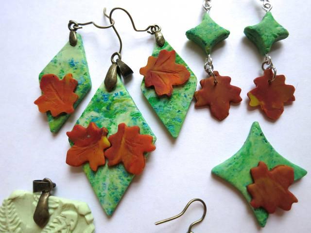 Серьги-подвески с листьями