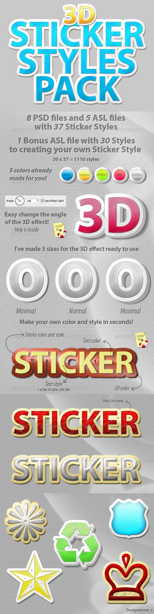 GraphicRiver - 3D Sticker Styles for Photoshop