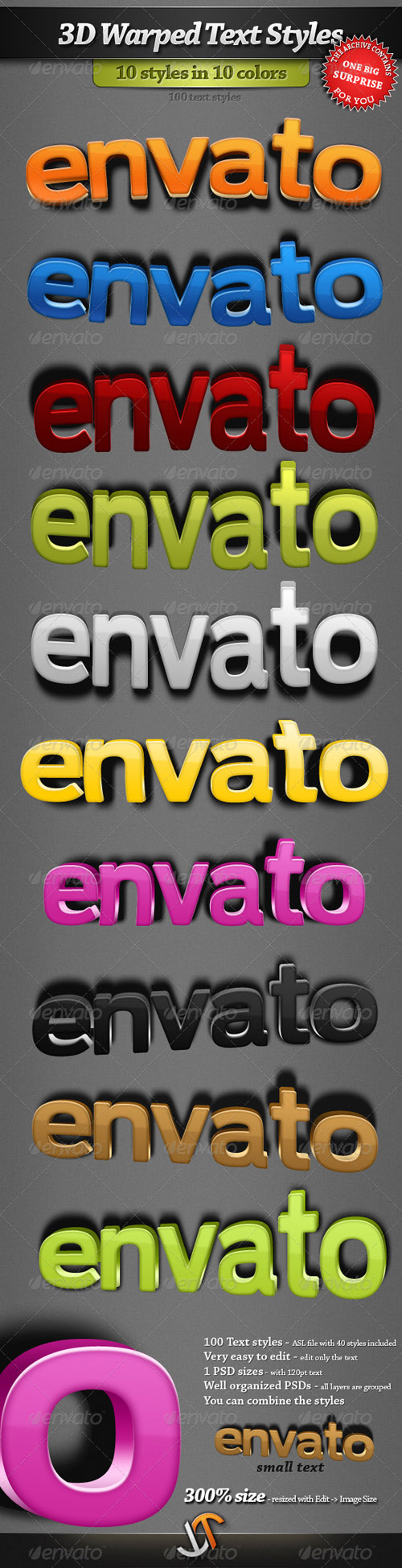 GraphicRiver - 3D Warped Text Styles for Photoshop