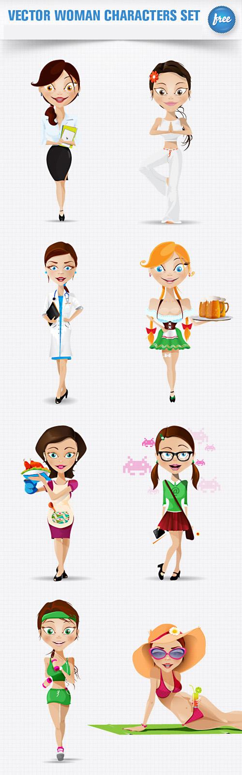 Woman Characters Set - PSD Layered