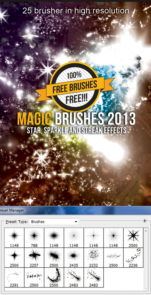Photoshop Brushes - Star, Sparkle and Streak effects