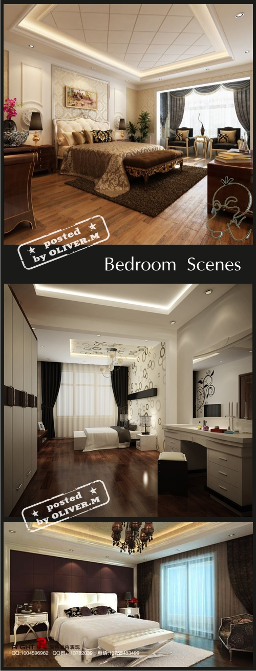 Bedroom Interiors Scenes for 3ds Max, part 3