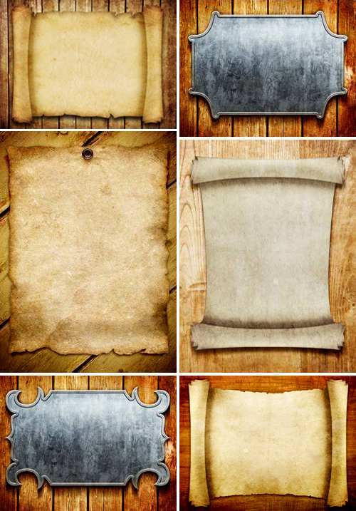 Vintage Backgrounds - Scrolls and Metal boards