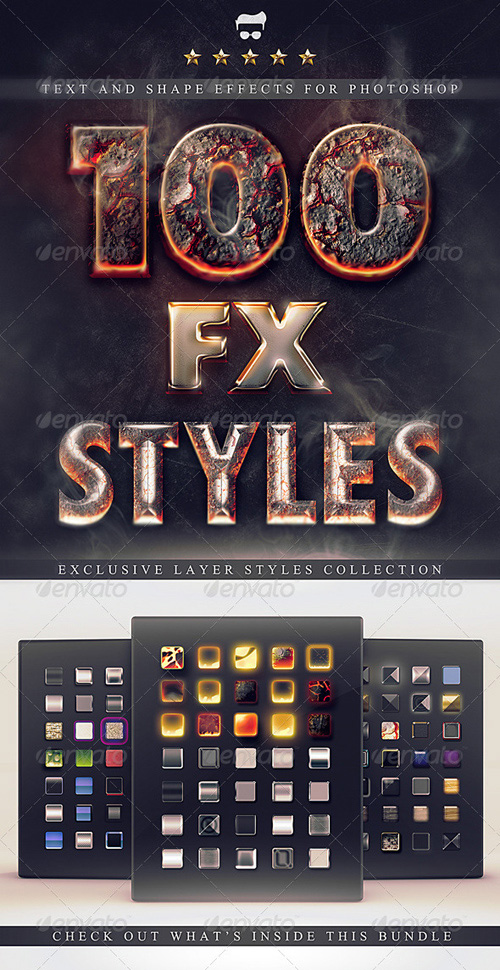 GraphicRiver - 100 Photoshop Layer Styles Bundle