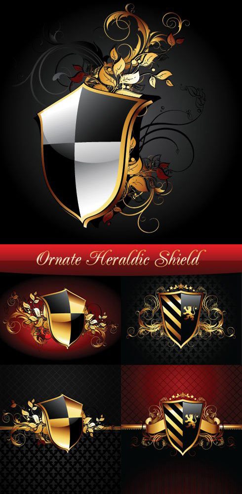 Royal Heraldic Shield - Stock Vector