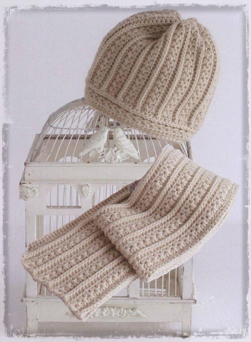 Схема вязания шапки и шарфа крючком. . Комплект, состоящий из шарфа и шапочки связан из толстой пряжи крючком 7