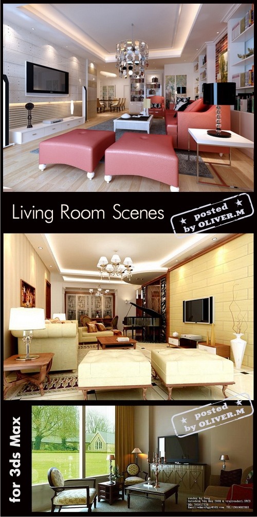 Living room interiors scenes for 3ds max part 13 all for Living room 3ds max