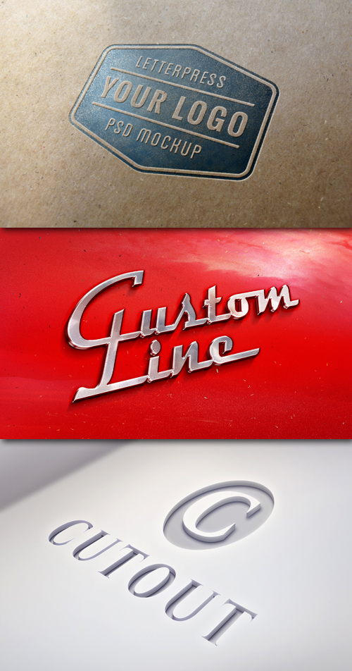 Logo Mock-Ups - Cutout, Letter press, Retro Car Emblem