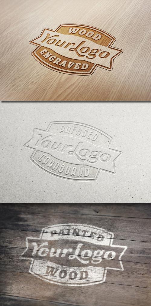 Logo Mock-Ups - Wood Engraved, Pressed Cardboard, Painted Wood