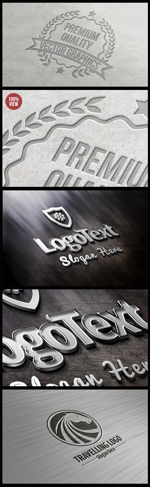 Logo Mock-Ups - Letter Press, Metallic, Steel Logo