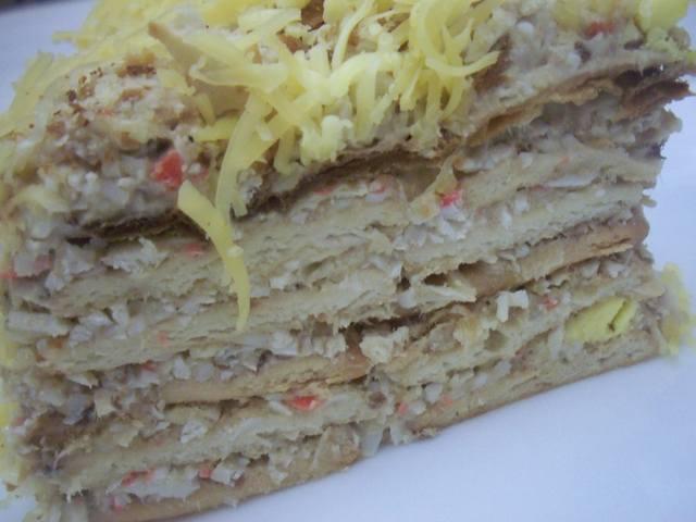 Торт наполеон рыбный пошаговый рецепт