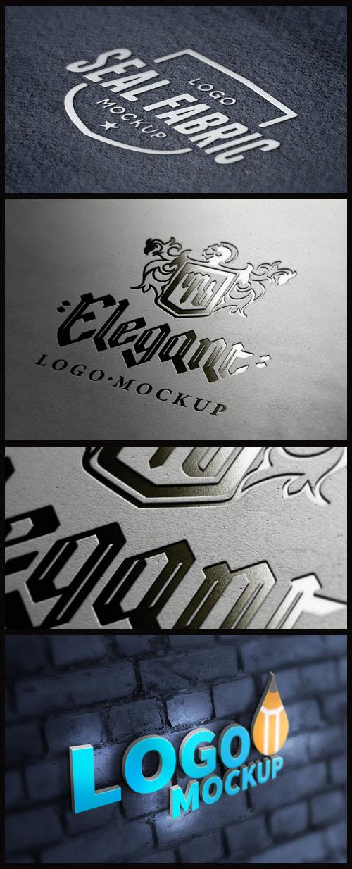 Logo Mock-Ups - Fabric, Letterpress, 3D Logo