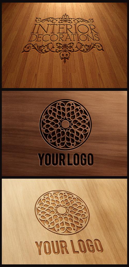 Logo Mock-Ups - Carved and Pressed Wood