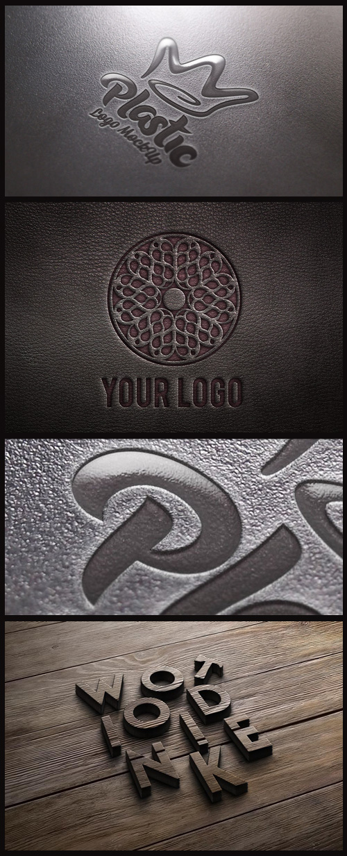 Logo Mock-Ups - Plastic, Leather and 3D Wooden Logo