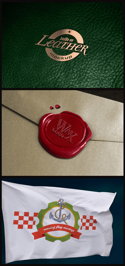 Logo Mock-Ups - Metal Badge on Leather, Wax Seal, Logo on Flag