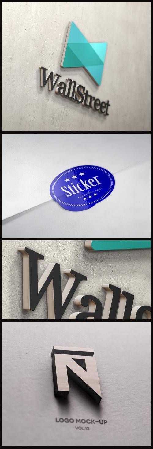 Logo Mock-Ups - 3D Wall, Sticker and 3D Wood Logo