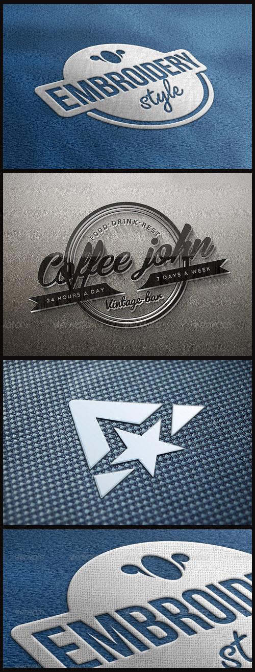 Logo Mock-Ups - Embroidery, Fabric, Glass Logo on the Wall