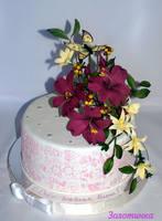 Сахарные цветы на тортах фото