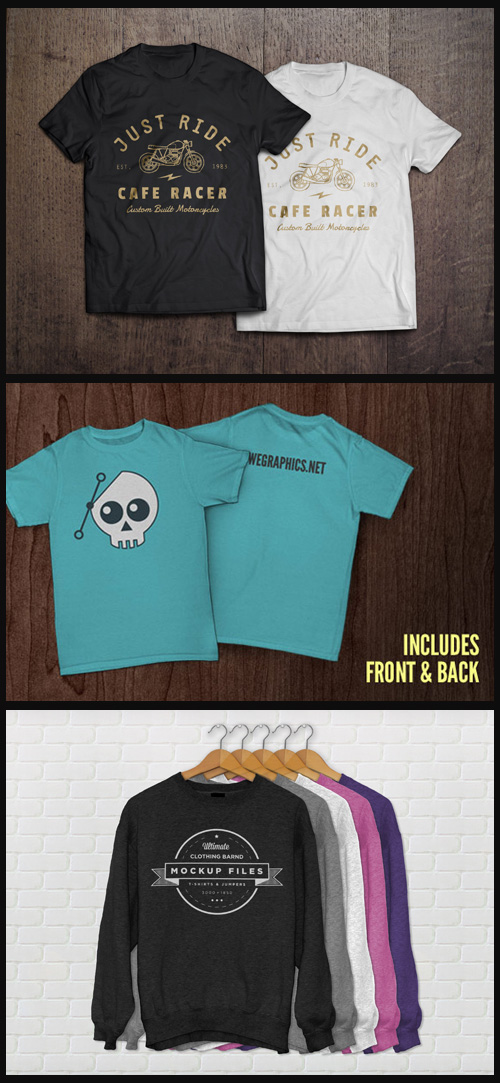 3 T-Shirt and Jumper Mock-Ups