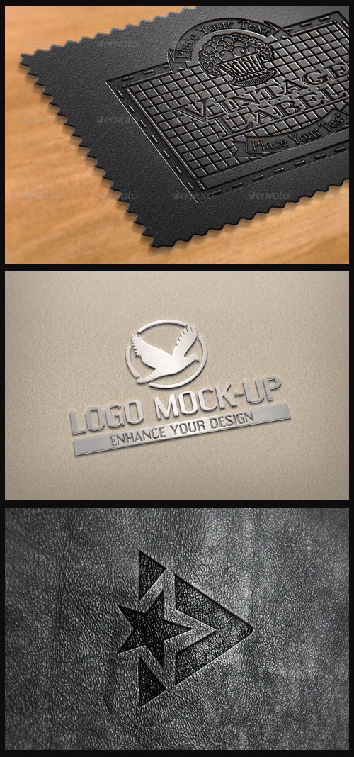 Logo Mock-Ups - Leather Label, Bright Metal, Pressed Leather