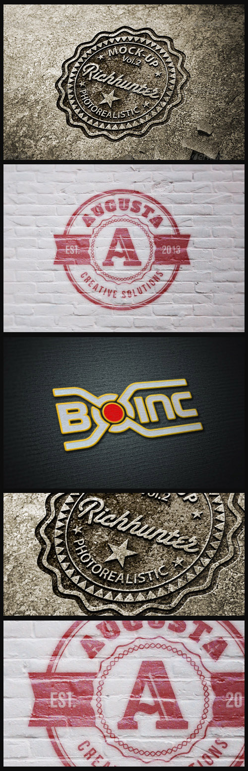 Logo Mock-Ups - Stone Carvings, Grunge Wall Paint, Threaded Logo