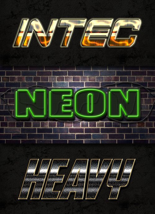 Photoshop Styles - Neon, Metal, Sci-Fi