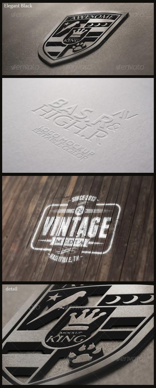Logo Mock-Ups - Paint on Wood, Embossed Paper, 3D King Logo