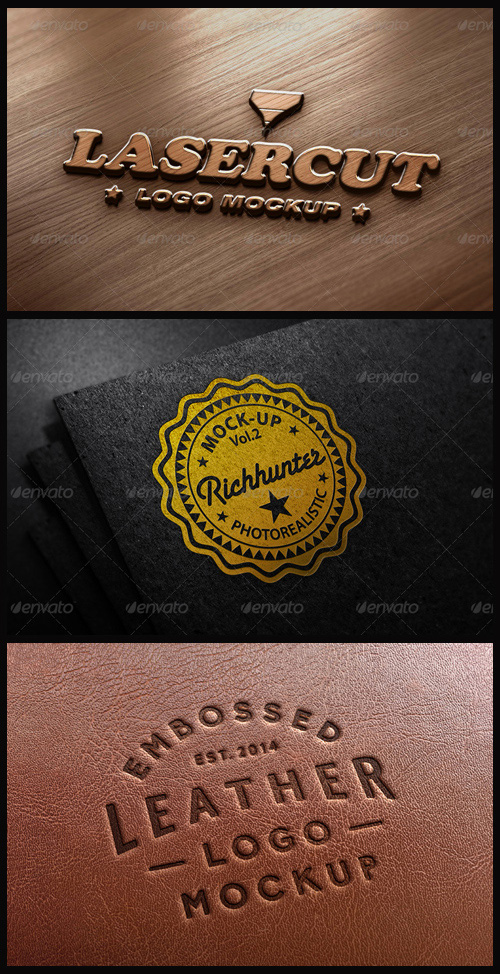 Logo Mock-Ups - Stamping on Paper, Laser Cut, Leather Stamping