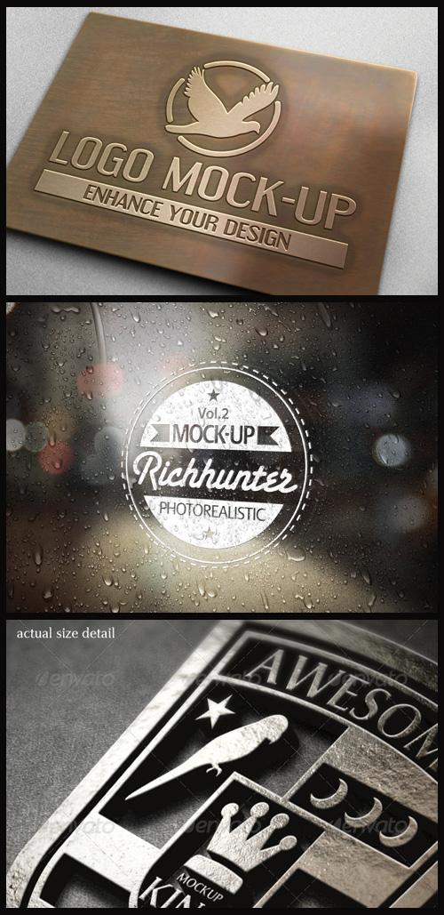 Logo Mock-Ups - Acid Etched Copper, Decal on Rain Glass, Metal 3D Logo