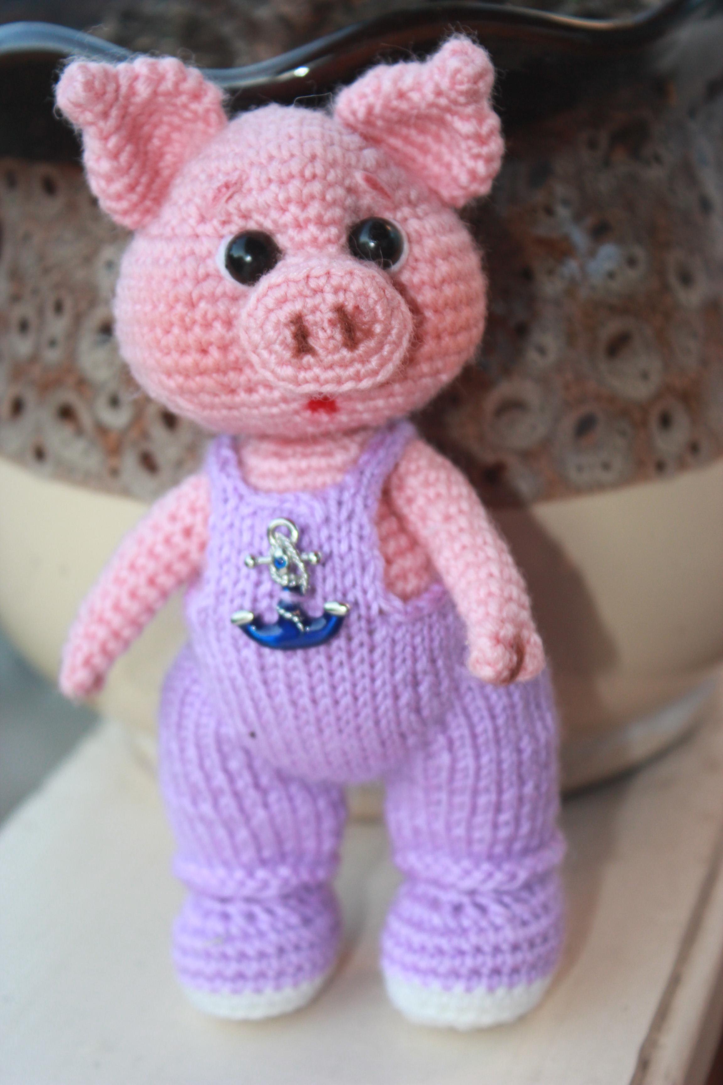 Вязание крючком игрушки свинка 888