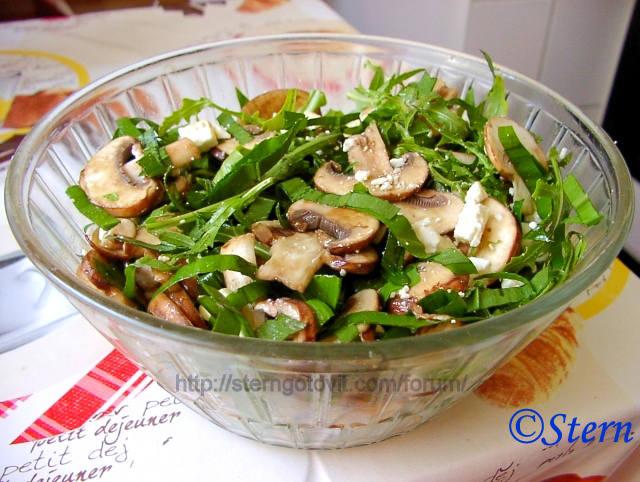 Салат с грибами и сыром на пошаговые
