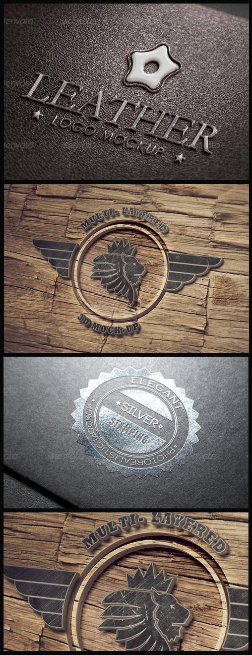 Logo Mock-Ups - Leather, Silver Stamping, 3D Wood Logo