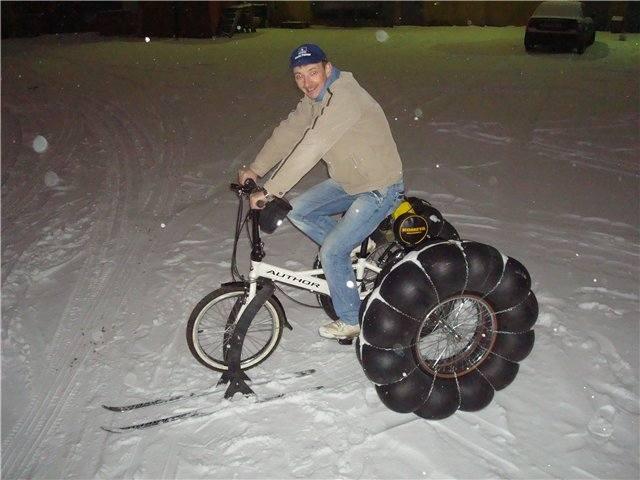 Как сделать велик снегоход