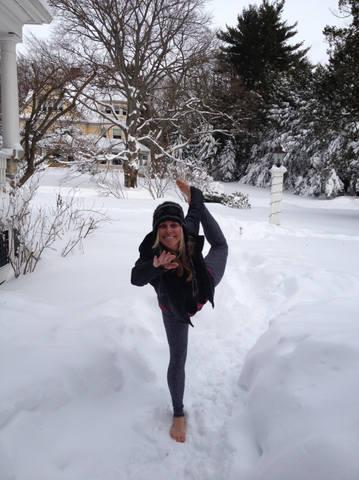 Yoga practice in the snow