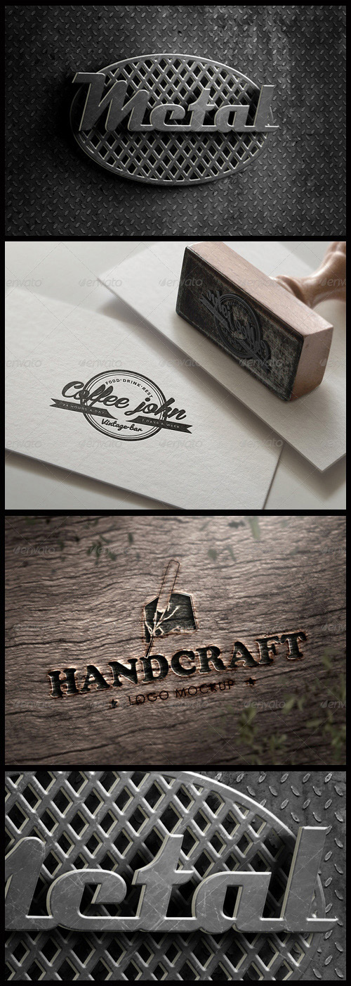 Logo Mock-Ups - Wood Handcraft, Stamped on Paper, Metal 3D Logo
