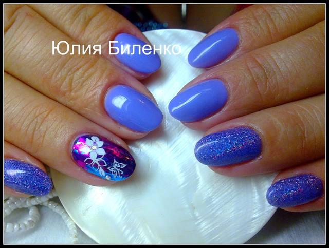 Дизайн ногтей с втиркой блестки фото