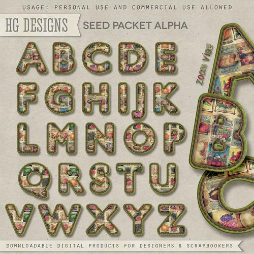 Scrap Set - Vintage Seed Alphabet