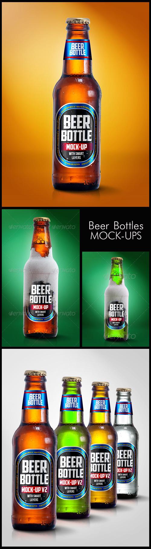 Photoshop Mock-Ups - Beer Bottles with Labels, part 2