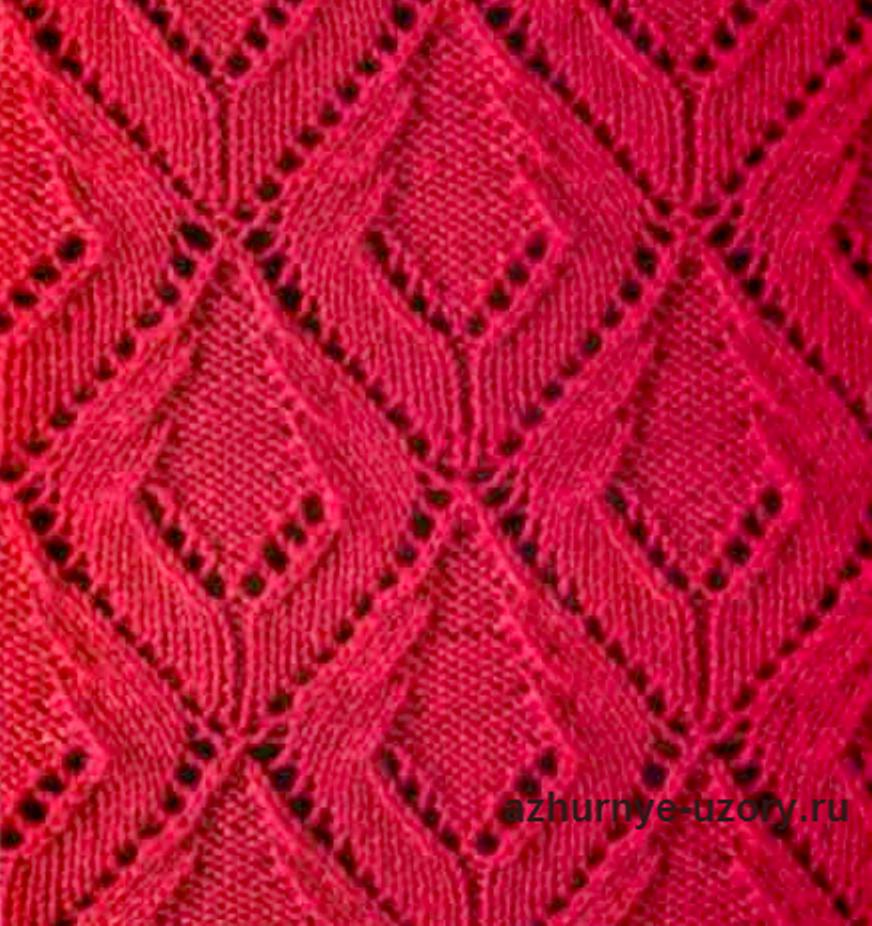 Метки: ажурные узоры ажурное вязание спицами ажурные ромбы летнее вязание спицами Шарф со спущенными петлями и с