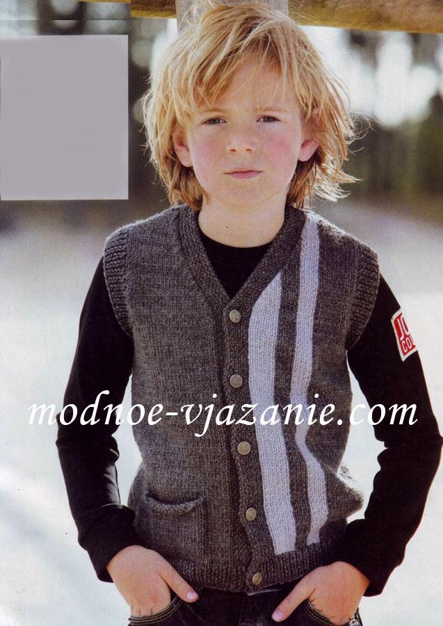 Детский вязаный жилет для мальчика - Лучшие жилеты здесь